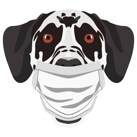 Illustration of a Dalmatian with a respirator. At this time of the pandemic, the design is a nice graphic for fans of dogs. Vettoriali