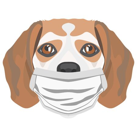 Illustration of a beagle with a respirator. At this time of the pandemic, the design is a nice graphic for fans of dogs.