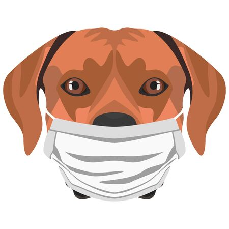 Illustration of a Rhodesian Ridgeback with a respirator. At this time of the pandemic, the design is a nice graphic for fans of dogs.
