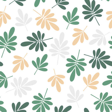 seamless bright graphically stylized green and yellowbeige natural leaves pattern texture element on white background