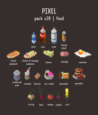 graphical stylized pixel food icon set of twenty (20) items (drinks, ñonfectionery, vegetables, sandiches) on dark brown background Çizim