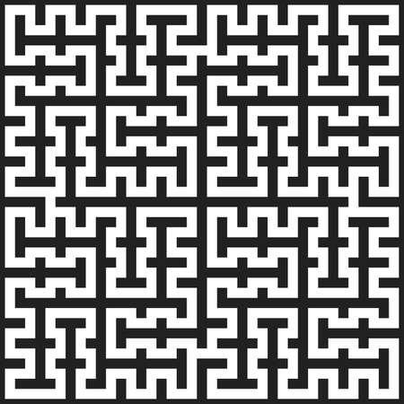 seamless monochrome labyrinth pattern texture element. Ilustração