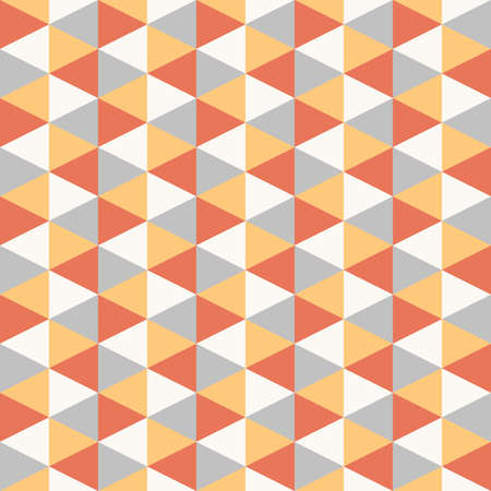seamless geometric recurring triangle pattern texture element, four colors: red, yellow, grey, white