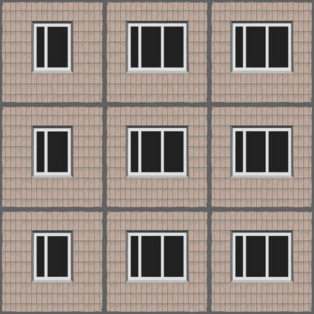 soviet architecture beige unified panel house pattern texture element with tiled facade Illustration