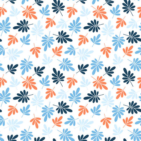 seamless bright graphically stylized blue and orange natural leaves pattern texture element on white background.