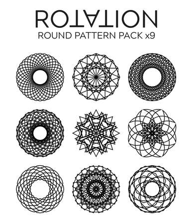 abstract ornamental monochrome black patterned rounds and circles set of nine items on white background