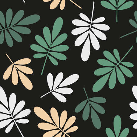 seamless bright graphically stylized green and yellowbeige natural leaves pattern texture element on dark background