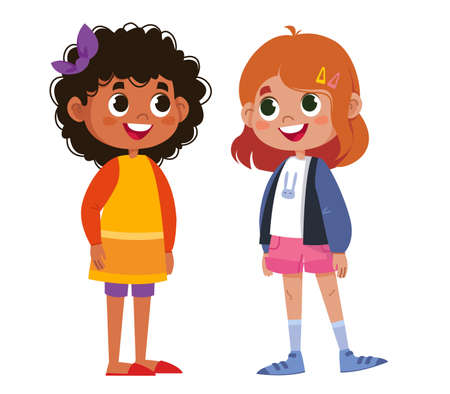 Two schoolchildren speak vector. Children laugh and play. The black woman is beautiful. Two girls stand cartoons. Illustration funny clipart set cute Vector Illustration