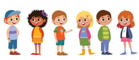 Children school vector set. Boys and girls laugh and play. The black-skinned woman is beautiful, red-haired, blonde, fair-haired. Cartoon characters are standing. Illustration funny clipart cute Vektorové ilustrace