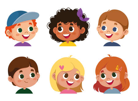 Set of children s emotions. Facial expression. Cartoon boy and girl avatar. Vector illustration of baby cartoon character fun
