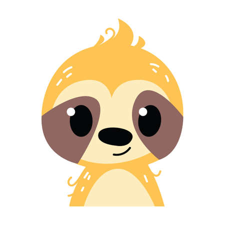 Sloth kid emoticon icon and character vector illustration. Childish style isolated on white background. Print for the kid s room. Baby animal zoo