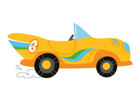 Vector modern cartoon racing yellow car. Auto kids funny and cute logo. Boy print - for clothes, cards, banner. Clipart trending for the kid
