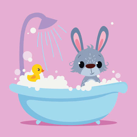Cute Baby Rabbit is bathing in the bathtub. Vector print for children. Cartoon character of kids animals. Cleanliness in the bathroom art.
