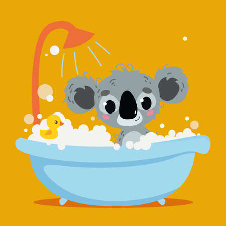 Cute gray koala bathes in the bathtub. Orange background interior. Vector print for children. Cartoon character of children animals. Cleanliness in the bathroom art.