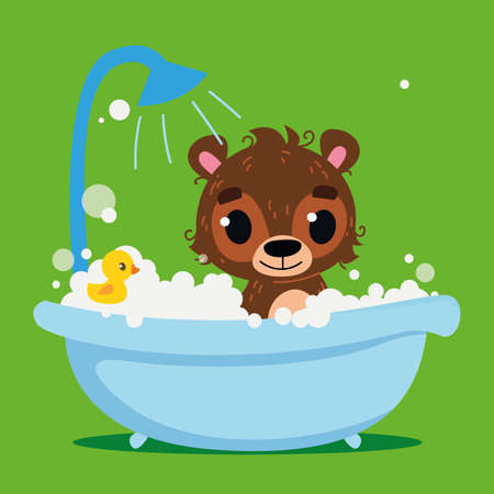 Cute brown bear baby bathes in the bath. Vector print for children. Cartoon character of children animals. Cleanliness in the bathroom art. Vettoriali