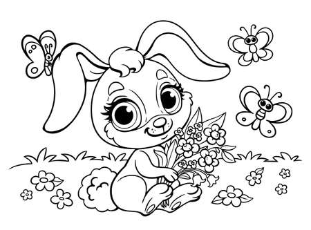 Cute fluffy anime Rabbit with a bouquet of flowers. Coloring book for children with a hare. Butterfly and glade. Preschool baby development. Vector illustration in cartoon style. Isolated page
