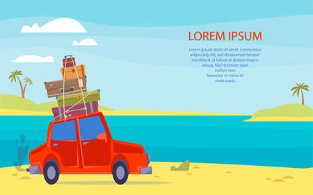 The car goes on a trip with a suitcase on the roof. Banner template with the sea. Place for your text. Vector illustration in cartoon children s style. Isolated funny clipart. Cute print Vektoros illusztráció