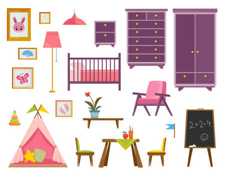 A set of furniture for a nursery for a newborn baby pink. A room for a little girl. Interior items such as a table, wardrobe, chest of drawers, chair. Vector illustration in a flat style. Isolate