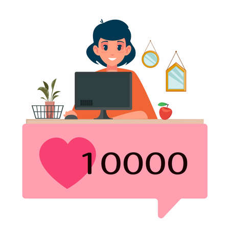 Beautiful girl at the desktop near the computer. The concept of freelance, as well as blogging. Successful beauty blogger with 100,000 likes and reposts. Vector illustration in cartoon flat style.