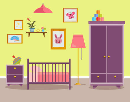 Children s room for a newborn baby. Pink interior for a little girl with a bed, chest of drawers and toys. Vector illustration in cartoon style. Vektoros illusztráció
