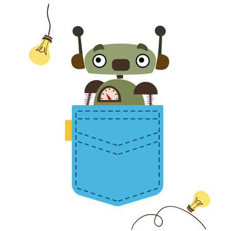 A green robot looks out of a blue pocket. Vector illustration in cartoon children s style. Isolated funny clipart on a white background. Cute print for boy