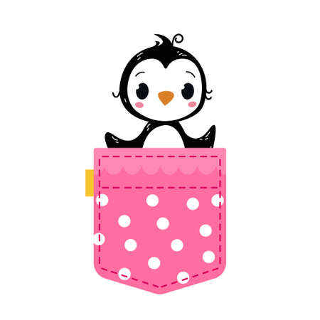 A baby penguin looks out of a pink pocket with polka dots with lace. Vector illustration in cartoon children s style. Isolated funny clipart on a white background. Cute print