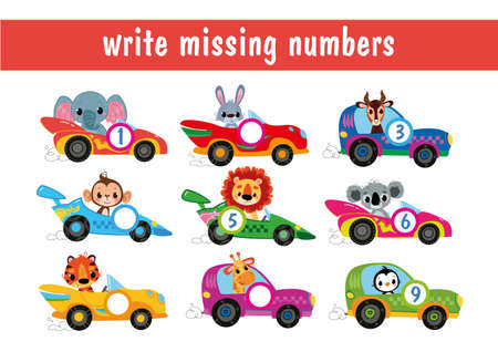 Write down the missing numbers. Animal drivers cartoon. Cartoon cars with numbers from 1 to 9. Transport mini-game for children. Educational math game for children. Fill in the line, write in numbers.