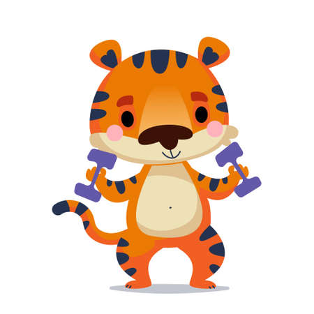 The tiger cub holds dumbbells with his paws for sports. Fitness training of animals. Vector illustration in children s cartoon style. Isolated funny clipart on a white background. Kids baby print