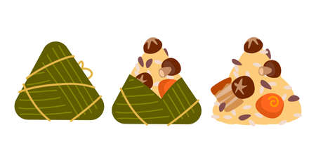 Delicious rice dumplings, Duanwu holiday. illustration vector flat of Zongzi or sticky rice dumplings with bamboo leaves warping isolated. Traditional Chinese food on Dragon boat racing festival.