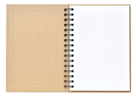 Open recycle notebook on white background photo