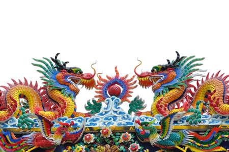 Dragon statue on white background