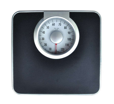 analog: Bathroom weight scale on white background