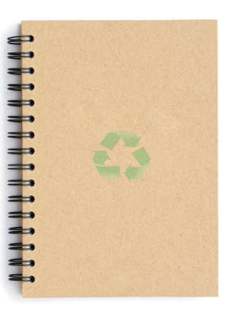 Recycle notebook with recycle symbol Stock Photo