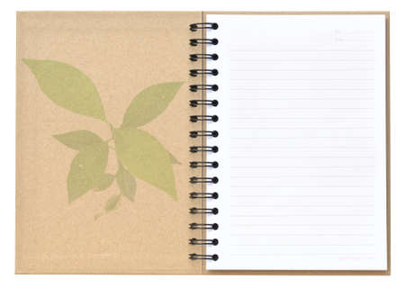 Open recycle notebook with tree pattern on cover photo