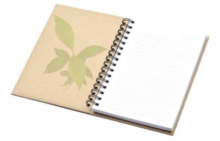 Open recycle notebook with tree pattern on cover