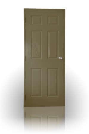 Dark brown wood door with shadow Stock Photo
