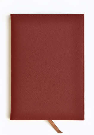 Dark red leather notebook Stock Photo