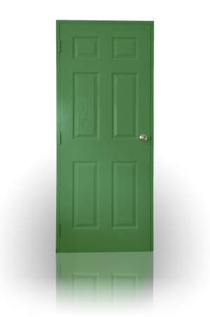 Green wood door with shadow