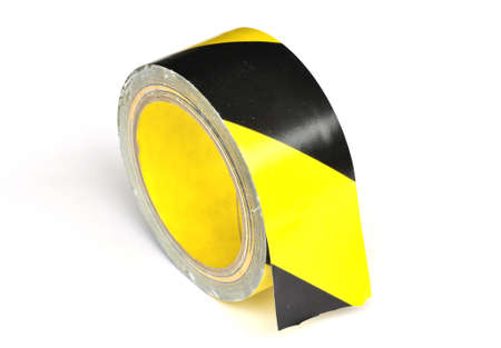 working area: Yellow caution tape on white background