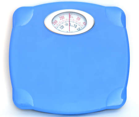 Sweet blue bathroom weight scale on white background Stock Photo - 9591579