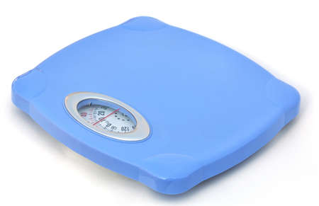 Sweet blue bathroom weight scale on white background Stock Photo - 9591607
