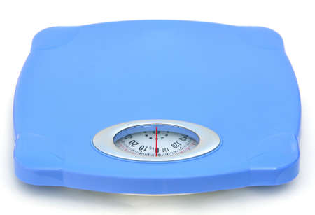 Sweet blue bathroom weight scale on white background photo