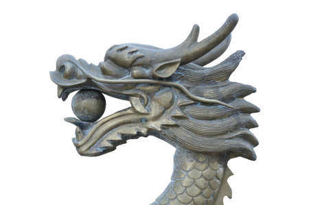 Metal dragons head statue on white background