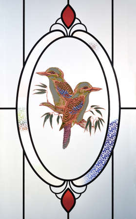 Frosted glass with beautiful bird texture Stock Photo - 9838254
