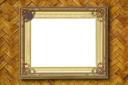 Gold picture frame on weave bamboo wall photo