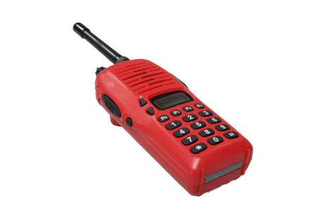 Red walkie talkie on white background photo