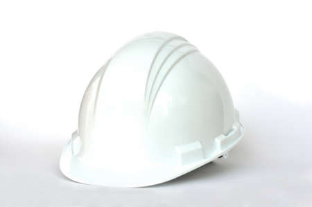 White hard hat on white background Stock Photo - 10345576