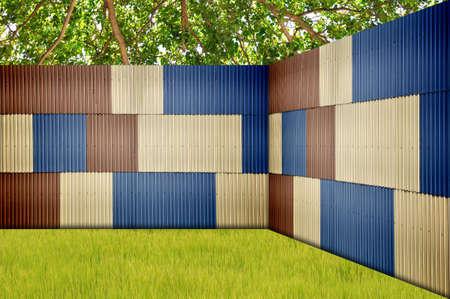 Metal sheet fence in garden Stock Photo - 10537017