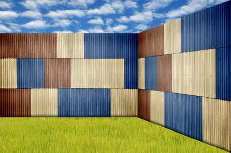 treadplate: Metal sheet fence in garden