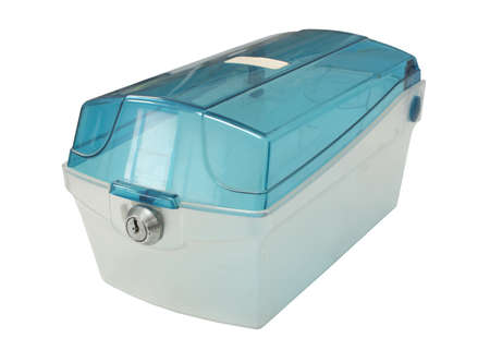 keylock: Old empty blue plastic box with keylock on white background